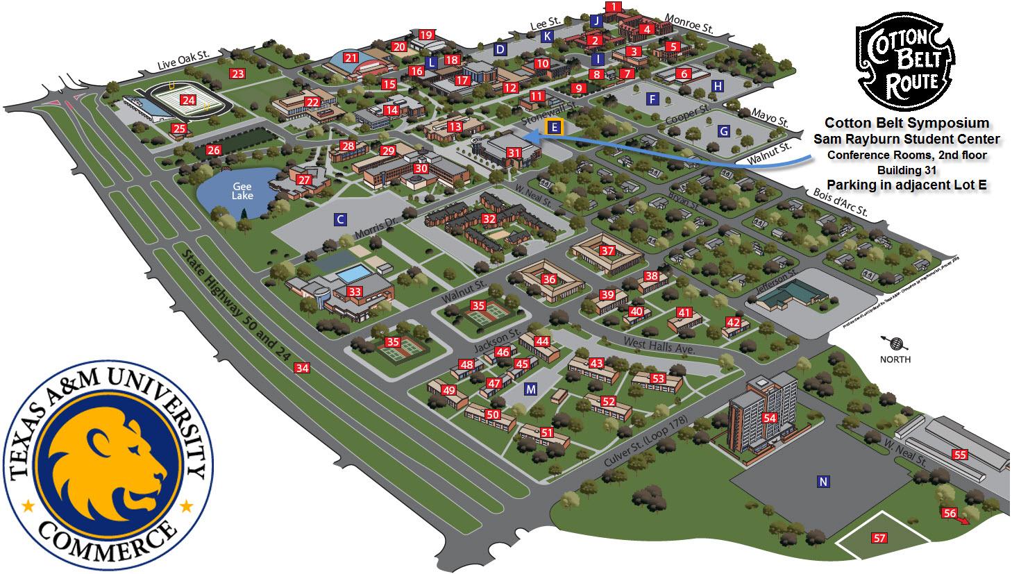 Tamuc Campus Map Directions to Cotton Belt Regional Railroad Symposium at TAMU Commerce
